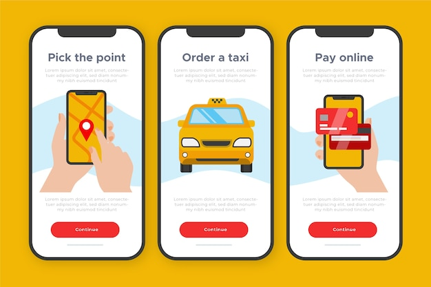 Concepto de aplicación de incorporación para servicio de taxi