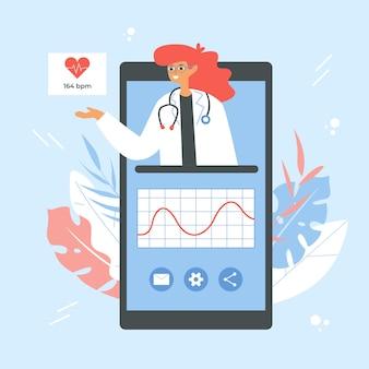 Concepto de aplicación de monitorización de frecuencia cardíaca. smartphone con doctora y gráfico de frecuencia cardíaca.