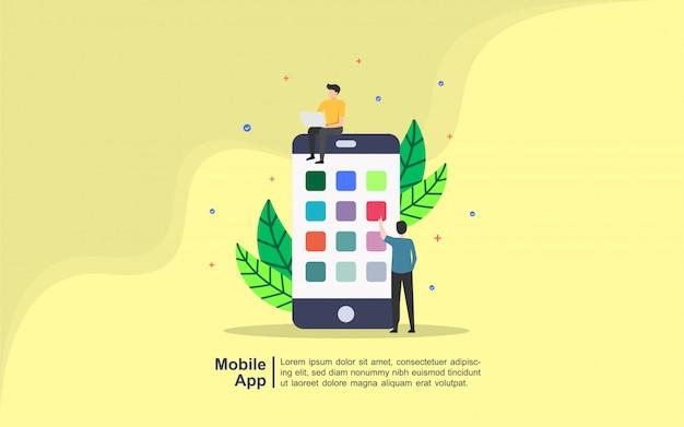 Concepto de aplicación móvil con carácter de personas.