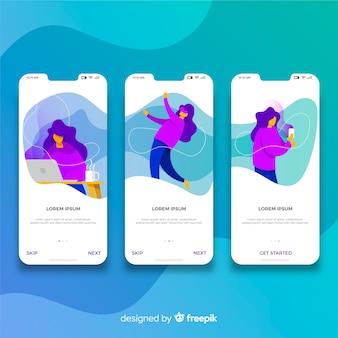 Concepto aplicación móvil dibujado a mano