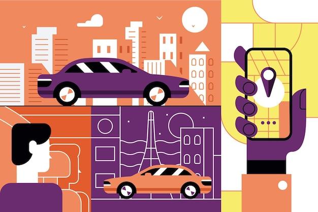 Concepto de aplicación móvil en línea de servicio de taxi