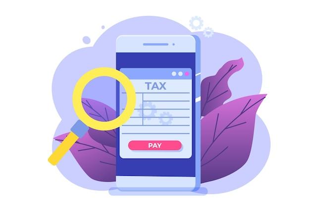 Concepto de aplicación de pago de impuestos en línea