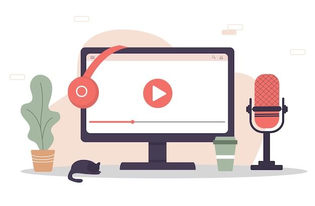 Concepto de aplicación de podcast en computadora.