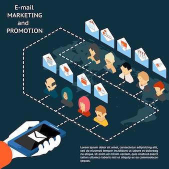 Concepto de aplicación de promoción y marketing por correo electrónico con una ilustración vectorial de un empresario sosteniendo un teléfono móvil o tableta que envía un lote de correos electrónicos en sobres que contienen iconos de comercio a las personas
