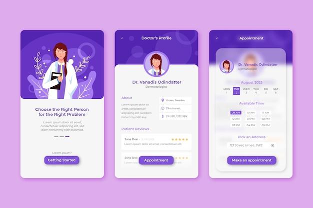 Concepto de aplicación de reserva médica