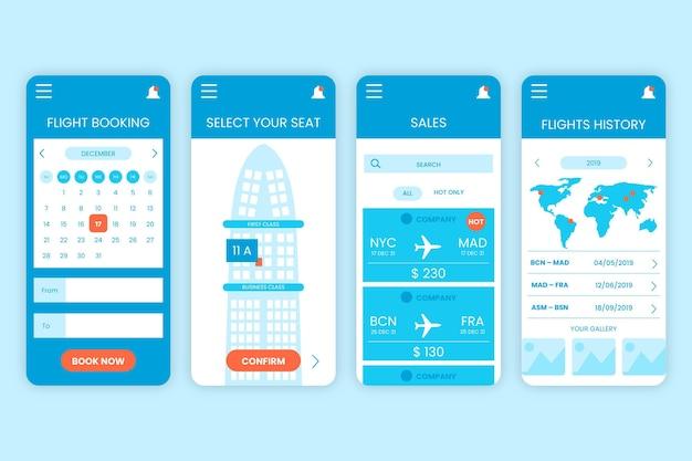 Concepto de aplicación de reserva de viaje