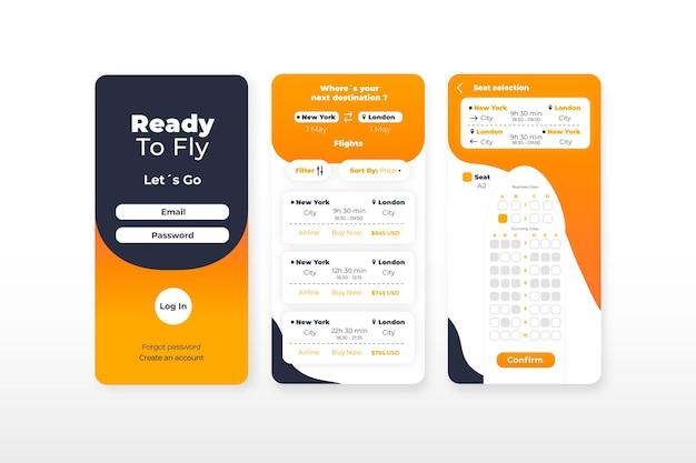 Concepto de aplicación de reserva de viajes