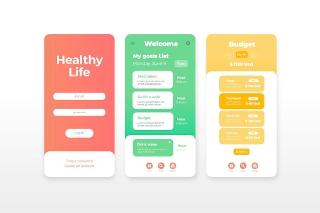 Concepto de aplicación de seguimiento de objetivos y hábitos