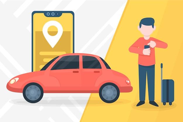 Concepto de aplicación de servicio de taxi