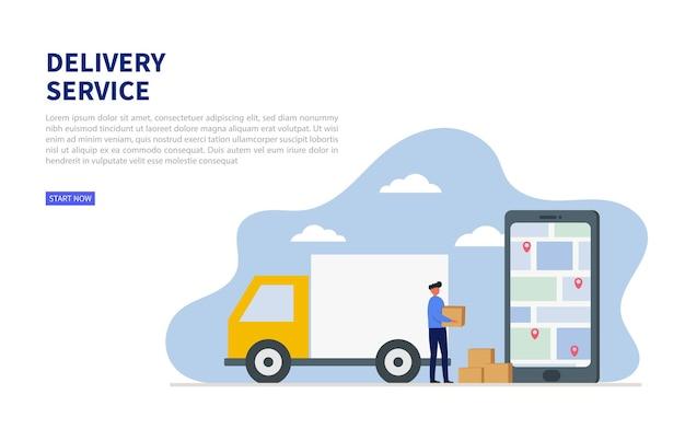 Concepto de aplicación de servicios de entrega en línea. con gps. carga logística. camión de mercancías.