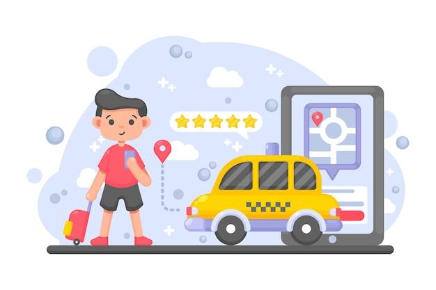Concepto de aplicación de taxi y cliente
