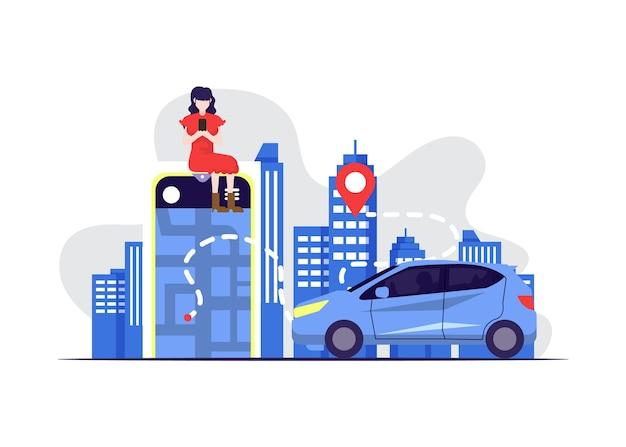 Concepto de aplicación de taxi con coche