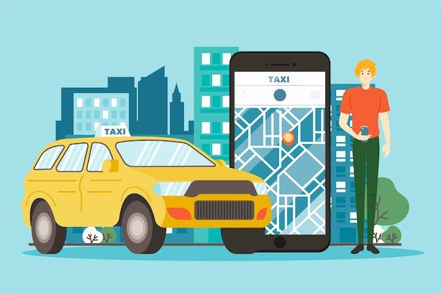 Concepto de aplicación de taxi con mapa