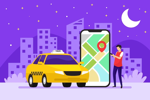 Concepto de aplicación de taxi en la noche