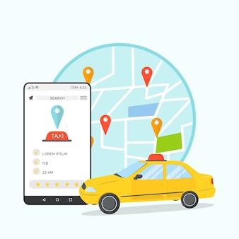 Concepto de aplicación para taxi