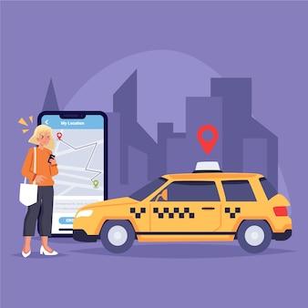 Concepto de aplicación de taxi