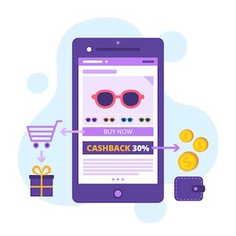 Concepto de aplicación de teléfono cashback