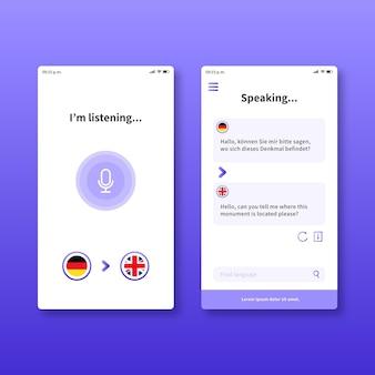 Concepto de aplicación de traductor de voz