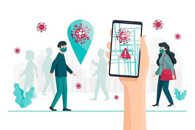 Concepto de aplicación de ubicación de seguimiento de coronavirus