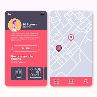 Concepto de aplicación de ubicación