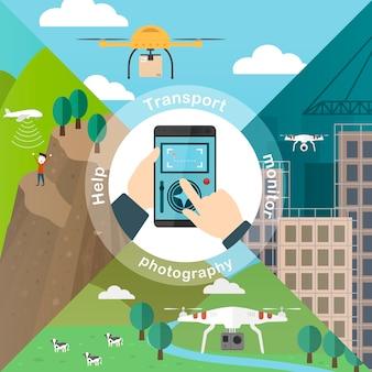 Concepto de aplicaciones de drones en estilo de diseño plano