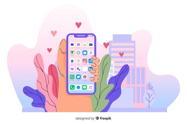 Concepto de aplicaciones móviles para landing page