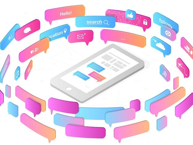 Concepto de aplicaciones móviles y redes sociales