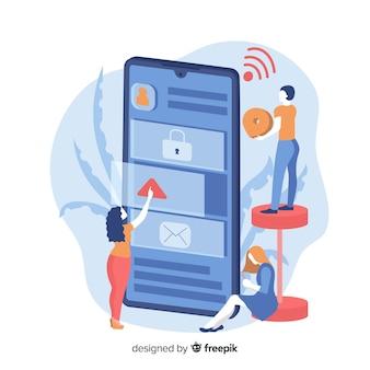 Concepto de aplicaciones de telefonía móvil para páginas de destino