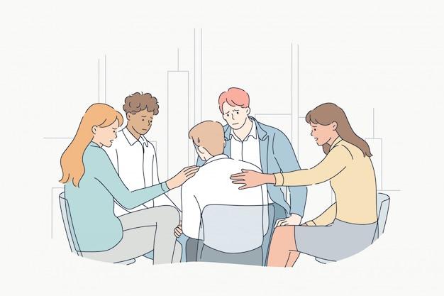 Concepto de apoyo, psicología, reunión, depresión, frustración, estrés mental.
