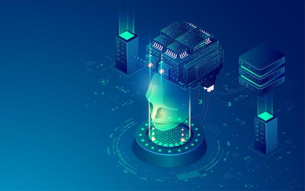 Concepto de aprendizaje automático o aprendizaje profundo, gráfico de cerebro de inteligencia artificial con sistema de red de datos