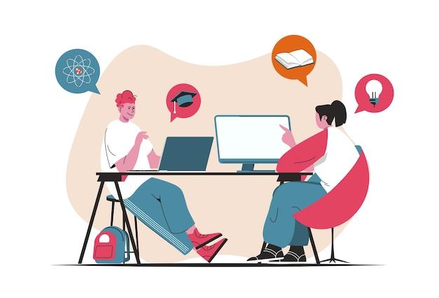 Concepto de aprendizaje a distancia aislado. educación en línea, video conferencias y bibliotecas electrónicas. escena de personas en diseño plano de dibujos animados. ilustración vectorial para blogs, sitios web, aplicaciones móviles, materiales promocionales.