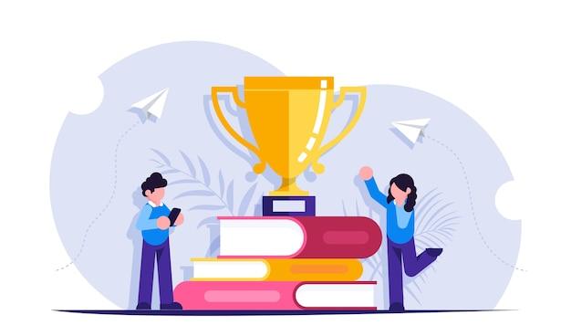 Concepto de aprendizaje. la gente recibió un premio de la copa por estudiar libros