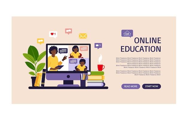 Concepto de aprendizaje en línea. página de inicio de la clase en línea.