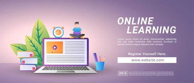 Concepto de aprendizaje en línea. regístrese para cursos y estudie en línea. educación digital.