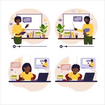 Concepto de aprendizaje online. profesores africanos en pizarra. niños africanos sentados detrás de su escritorio estudiando en línea usando la computadora.