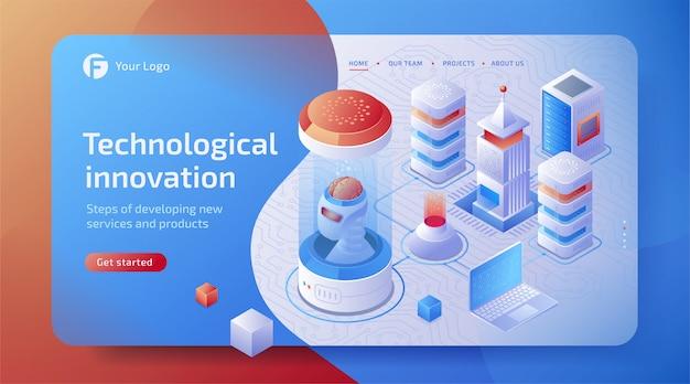 Concepto de aprendizaje profundo de inteligencia artificial isométrica 3d (ai) con cerebro digital de robot. tecnología del futuro