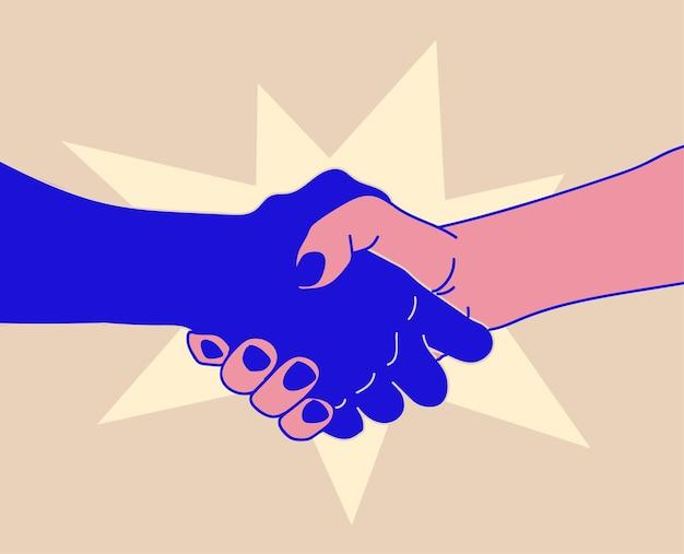 Concepto de apretón de manos con dos manos temblorosas de diferentes colores, trato o saludo o reunión o contrato