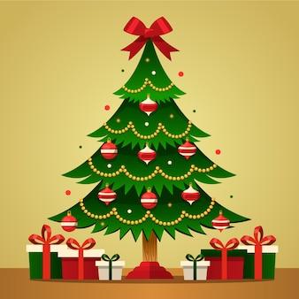 Concepto de árbol de navidad con diseño 2d