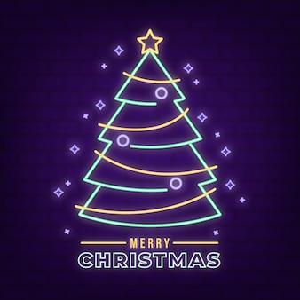 Concepto de árbol de navidad con diseño de neón
