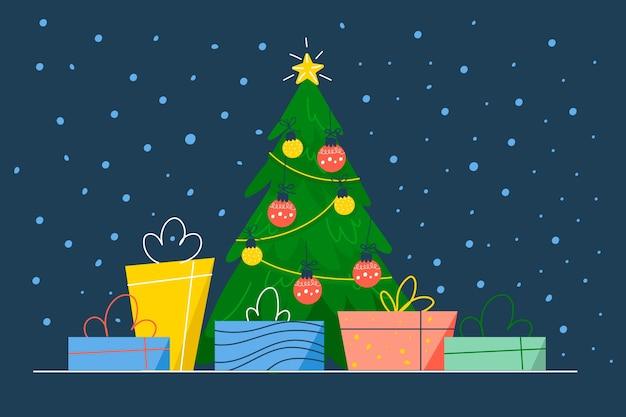 Concepto de árbol de navidad en diseño plano