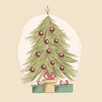 Concepto de árbol de navidad con diseño vintage