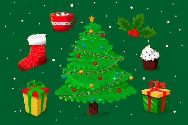 Concepto de árbol de navidad con efecto 2d