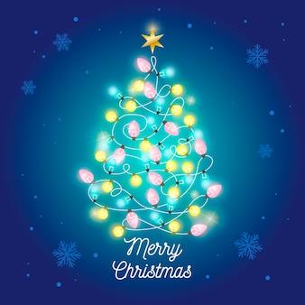 Concepto de árbol de navidad hecho de bombillas