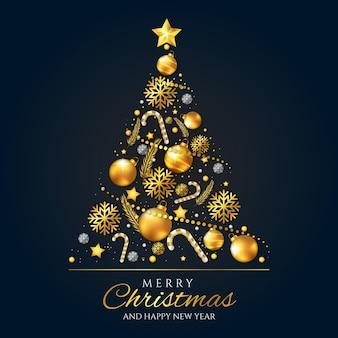 Concepto de árbol de navidad hecho de decoración dorada realista