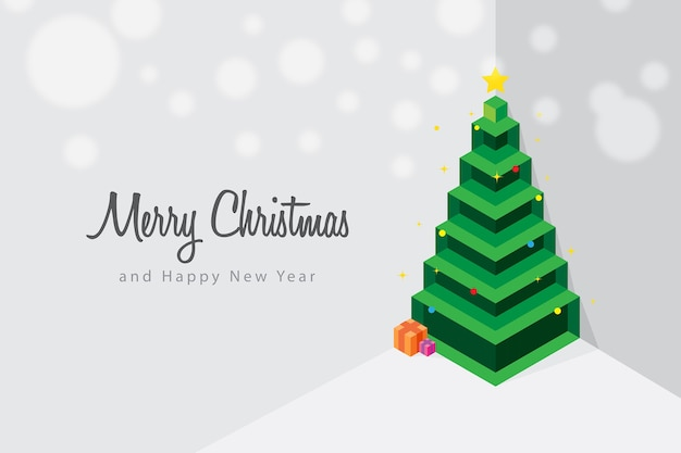 Concepto de árbol de navidad isométrico minimalista