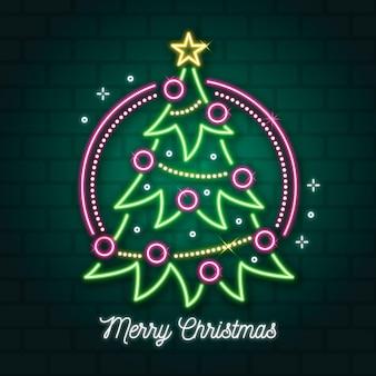 Concepto de árbol de navidad de neón