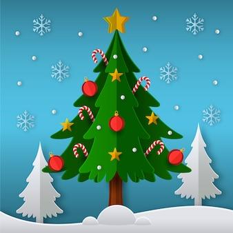 Concepto de árbol de navidad en papel