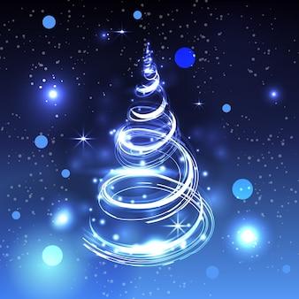 Concepto de árbol de navidad de sendero de luz