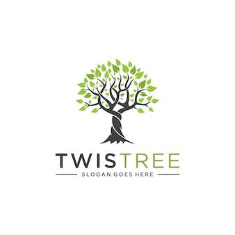 Concepto de árbol torcido para logotipos empresariales