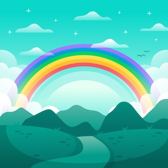 Concepto de arco iris plano